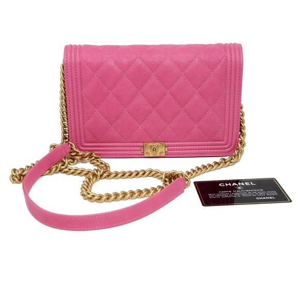 Chanel Handbags - Classic Flap Boy Quilted Caviar Small Woc Pink